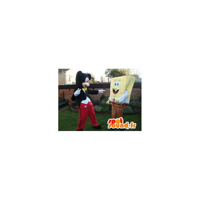 Bob mascote esponja, e Mickey. 2 mascotes bloco - MASFR005746 - Mascotes Bob Esponja
