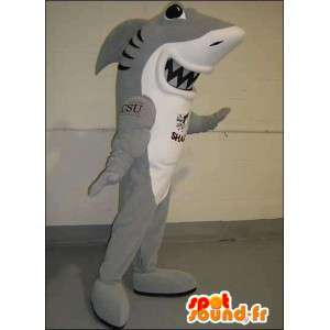 Mascote cinza e tubarão branco. terno de tubarão - MASFR005748 - mascotes tubarão