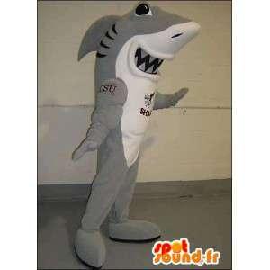 Maskotti harmaa ja valkoinen hai. Shark Suit