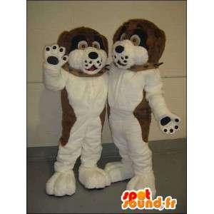 Brun og hvit hund maskoter. Pakke med 2 - MASFR005749 - Dog Maskoter