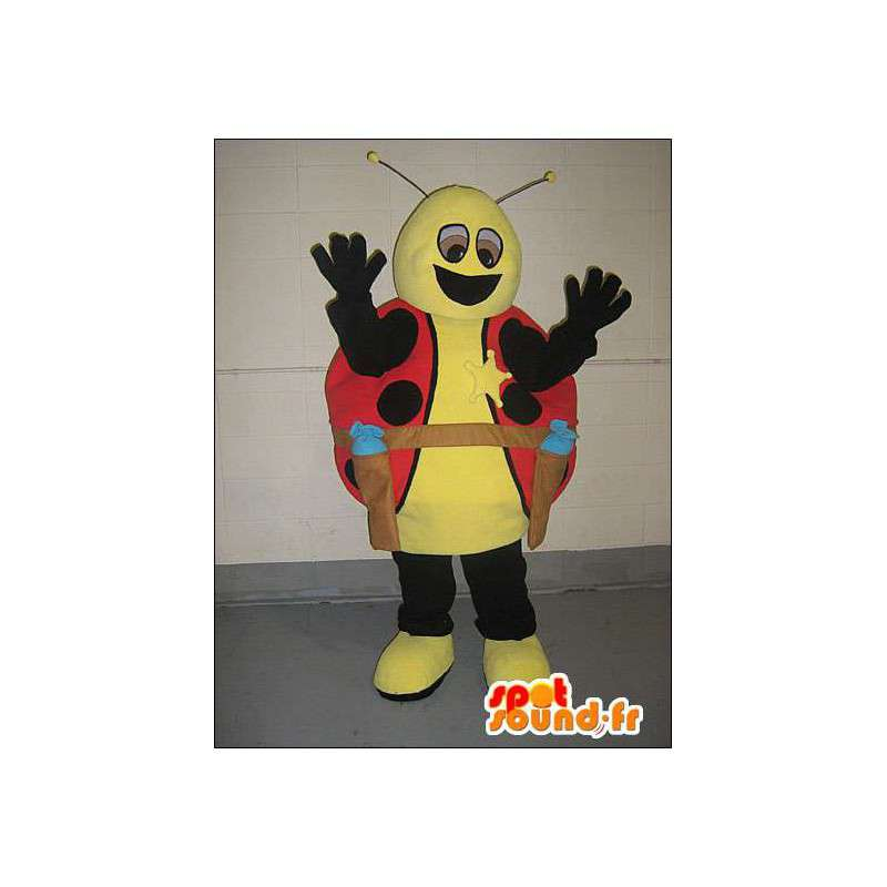 Ladybug mascot dressed in yellow and red cowboy - MASFR005752 - Mascots insect