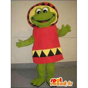Mascote sapo verde no vestido mexicano vermelho - MASFR005755 - sapo Mascot