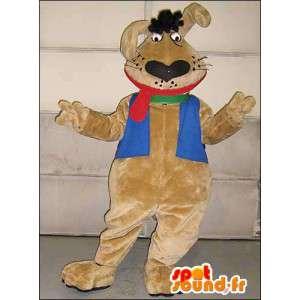 Ruskea kani maskotti isolla punainen kieli - MASFR005757 - maskotti kanit