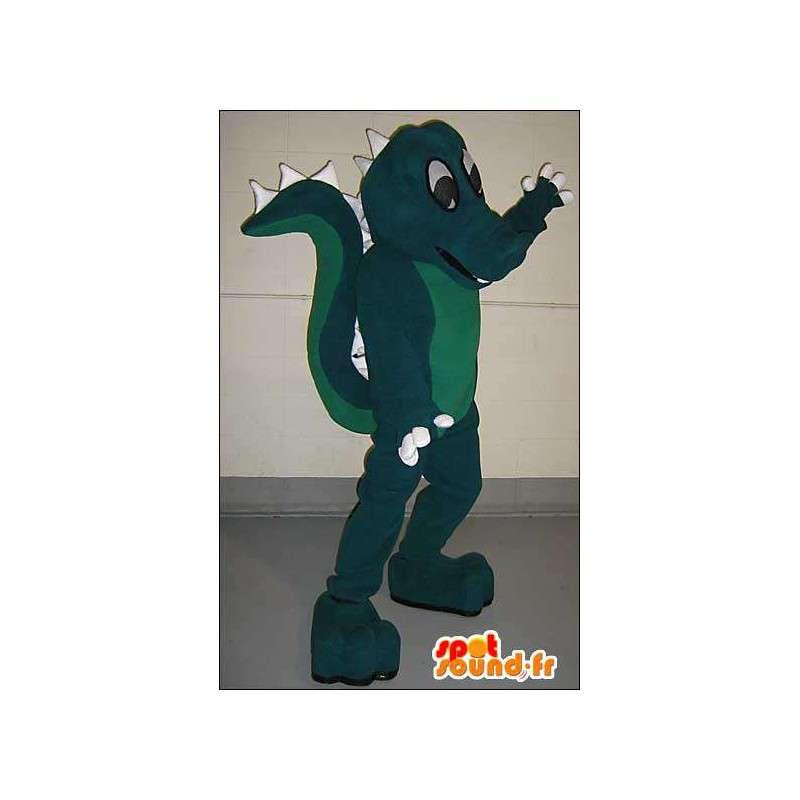 Bicolor green dragon mascot - MASFR005759 - Dragon mascot