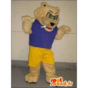 Mascot beige bear pukeutunut sininen ja keltainen urheilu - MASFR005760 - Bear Mascot