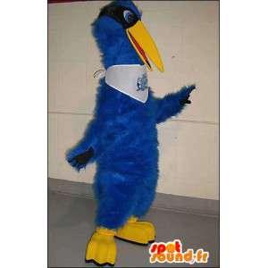 Azul mascote e pássaro amarelo. Costume Bluebird