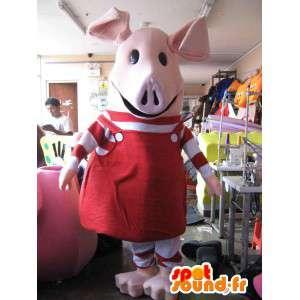 Rosa Schwein-Maskottchen in rot gekleidet - MASFR005764 - Maskottchen Schwein