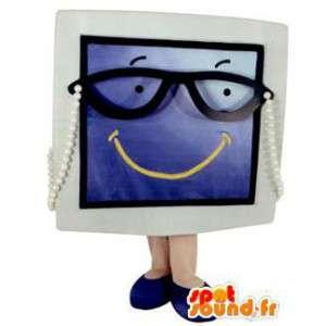 Screen mascotte, grijs en blauw televisie met een bril