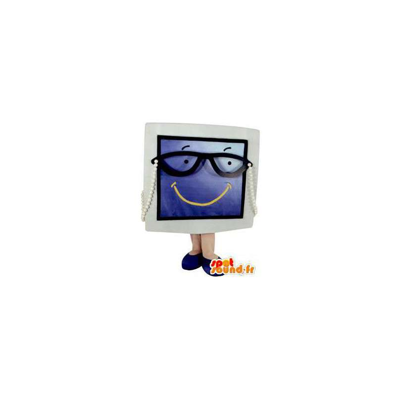 Mascot screen television with gray and blue glasses - MASFR005778 - Mascots of objects