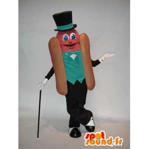 Riesen-Hot-Dog-Maskottchen in grünen und schwarzen Anzug - MASFR005779 - Fast-Food-Maskottchen