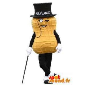 Maskotka gigantyczną żółtą orzechowe z top hat - MASFR005780 - Fast Food Maskotki