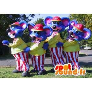 Mascottes de souris bleues habillées en tenues colorées. Pack de 4