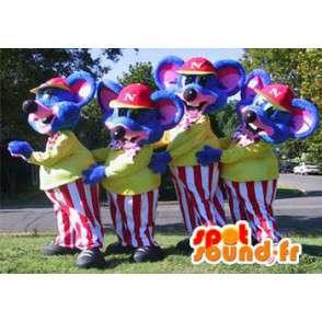 Mascottes de souris bleues habillées en tenues colorées. Pack de 4 - MASFR005781 - Mascotte de souris