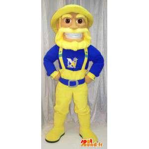 Mascot marinaio, pescatore blu e giallo. Vestito alla marinara - MASFR005783 - Umani mascotte