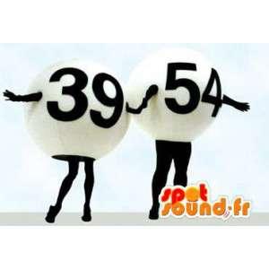 Mascot Lotteriekugeln 39 und 54 schwarz und weiß - MASFR005790 - Maskottchen von Objekten