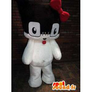 Preto e branco mascote gatinho com um laço vermelho
