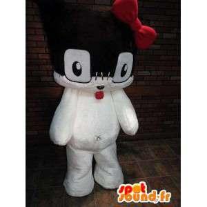 Zwart en wit kitten mascotte met een rode strik