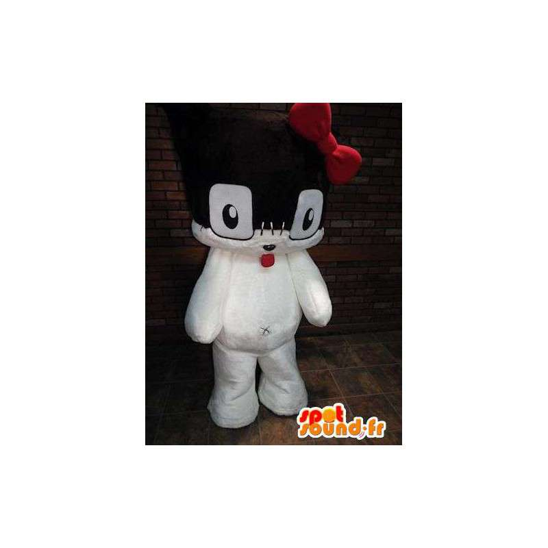 Mascot black and white kitten with a knot red - MASFR005791 - Cat mascots