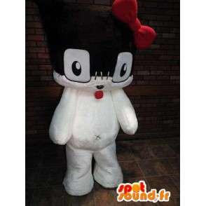 Mascotte de chaton noir et blanc avec un nœud rouge - MASFR005791 - Mascottes de chat