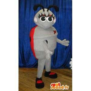 Mascot mariquita gris y rosa.Ladybug Costume
