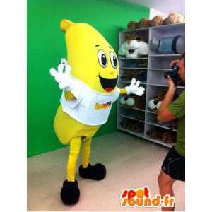 Mascot gigante plátano amarillo.Traje de plátano