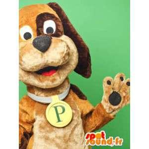 Maskotti kaksivärinen ruskea koira. koira Costume - MASFR005796 - koira Maskotteja