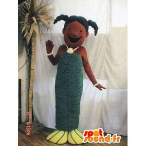 Mascotte de sirène verte. Costume de sirène