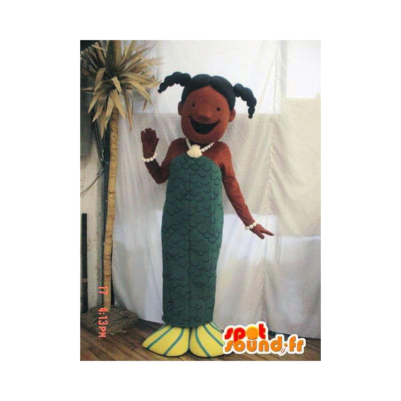 Mascotte de sirène verte. Costume de sirène - MASFR005800 - Mascottes animaux disparus