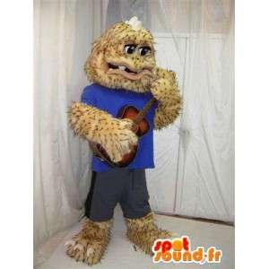 Yellow monster mascot all hairy. Costume hairy - MASFR005810 - Monsters mascots