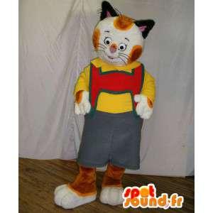 Kissa maskotti pukeutunut Tirolin. kissa perässä