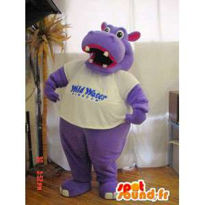 Mascot ippopotamo viola e rosa. Hippo costume