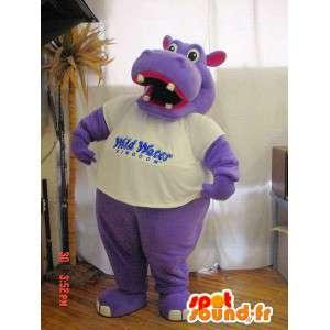 Mascotte d'hippopotame violet et rose. Costume d'hippopotame