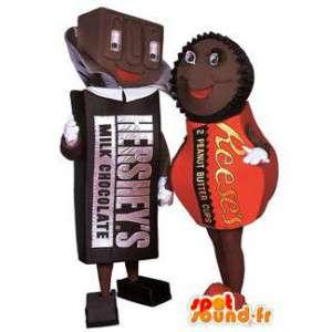 Chocolaatjes mascottes. Pak van 2 pralines kostuums - MASFR005817 - mascottes gebak