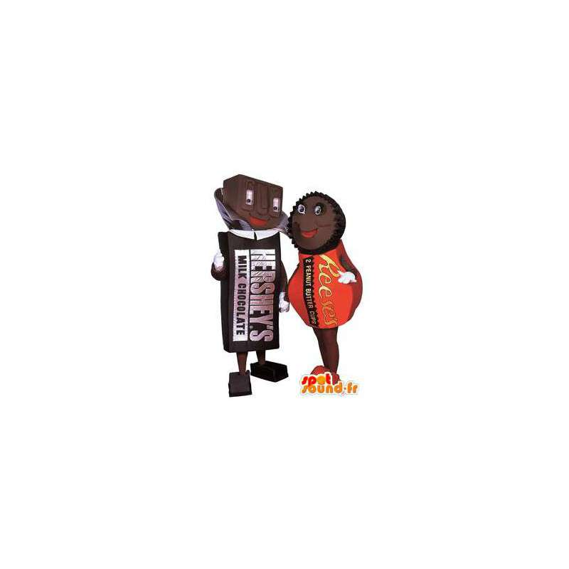 Mascots chocolates. Pack of 2 costumes chocolates - MASFR005817 - Mascots of pastry