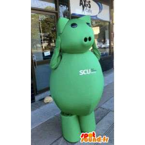 πράσινο μασκότ χοίρων γιγαντιαίο μέγεθος