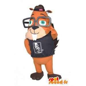 Mascotte d'écureuil à lunettes. Costume d'écureuil
