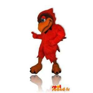Mascot pássaro vermelho de tamanho gigante. Costume pássaro