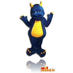 青と黄色のドラゴンのマスコット。恐竜のコスチューム