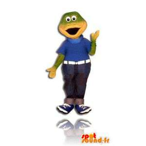 Mascotte de grenouille verte en jean. Costume de crocodile