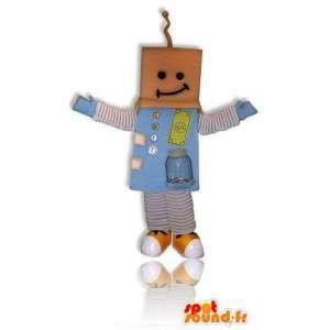 Robot maskot med en papp hode
