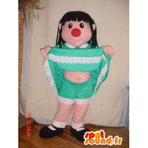 Meisje mascotte met een groene jurk en een rode neus - MASFR005692 - Mascottes Boys and Girls
