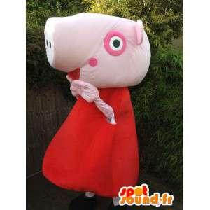 Rosa Schwein-Maskottchen in rot gekleidet - MASFR005736 - Maskottchen Schwein
