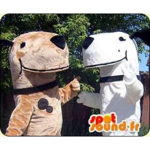 Hond Mascottes, bruin, wit. Pak van 2 pakken - MASFR005807 - Dog Mascottes