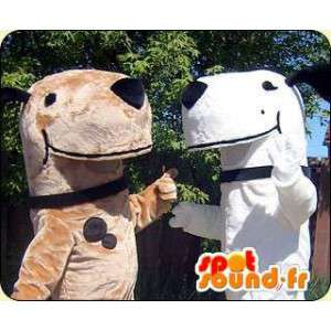 Mascot dog, brown, white. Pack of 2 suits - MASFR005807 - Dog mascots
