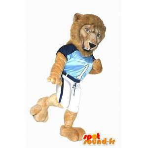 Lion mascot in sportswear. Lion costume