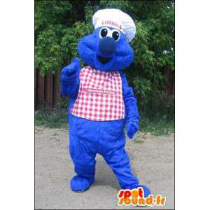 Blue monster mascot chef. Chief Costume