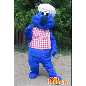 Mascotte de monstre bleu en chef cuisinier. Costume de chef - MASFR005945 - Mascottes de monstres