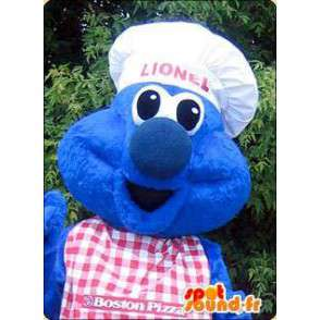 Monstruo azul cocinero mascota.Jefe de vestuario - MASFR005945 - Mascotas de los monstruos