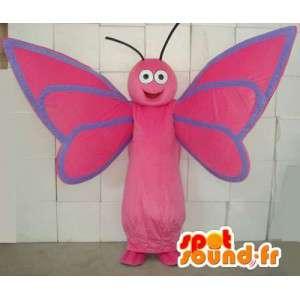 Mascotte de papillon rose et bleu. Costume de papillon