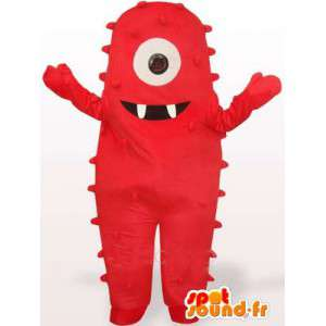 Maskot rød ekstra bakkenett. rød monster drakt